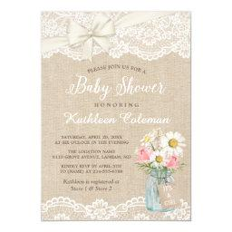 Ivory Lace Burlap Floral Mason Jar Baby Shower Invitations