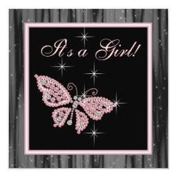 Jewel Butterfly Pink Black Baby Girl Shower