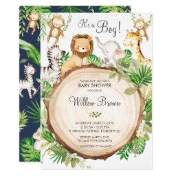 Jungle Animals Baby Shower Greenery Safari Boy Invitation