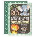 Jungle Animals Baby Shower Invitations Boy