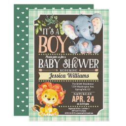 Jungle Animals Baby Shower Invitation Boy