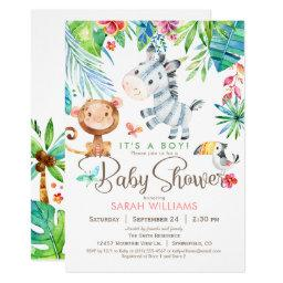 Jungle Animals Baby Shower Invitation, Boy or Girl