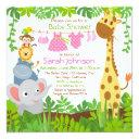 Jungle Animals Safari Girl Baby Shower Invitations
