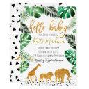 Jungle Baby Shower Invitations Gold Animals