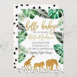 Jungle Baby Shower Invitation Gold Animals
