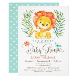 Jungle Lion Baby Shower, Boy Or Girl Invitations