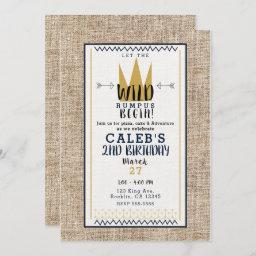 King Wild Thing Gold Crown Burlap Birthday Party Invitation