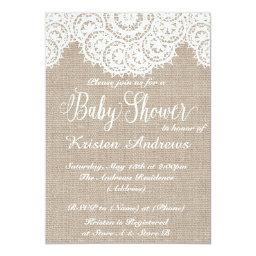 Lace and burlap Baby Shower