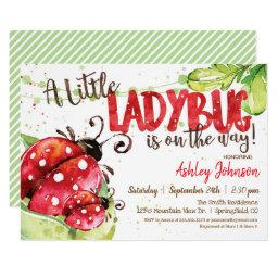 Ladybug Baby Shower Invitation, Girl Invitation