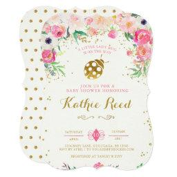 Ladybug Baby Shower Invitation Pink