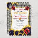Ladybugs And Sunflowers It's A Girl Baby Shower Invitation