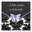 Lavender Purple Black Damask Bow Baby Shower Invitations