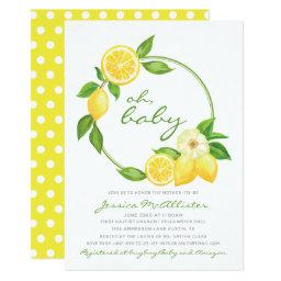 Yellow baby shower invitations babyshowerinvitations4u lemon yellow wreath citrus polkadot baby shower invitation filmwisefo