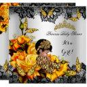 Leopard Baby Shower Girl Butterfly Yellow Ethnic Invitation