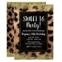 Leopard Cheetah Print Gold Glitter Birthday Party Invitations