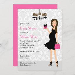 Leopard Hot Pink Pregnant Mom Baby Shower Invitation