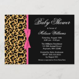 Leopard Pattern Pink Printed Ribbon Baby Shower Invitation