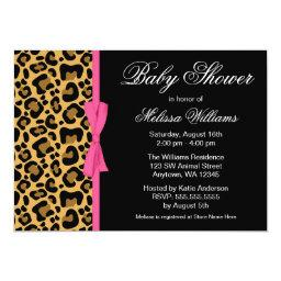 Leopard Pattern Pink Printed Ribbon Baby Shower Invitations