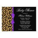 Leopard Pattern Purple Printed Ribbon Baby Shower Invitations