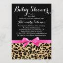 Leopard Print Hot Pink Bow Girl Baby Shower Invitation