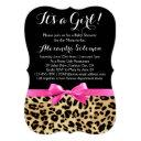 Leopard Print Hot Pink Bow Its A Girl Baby Shower Invitations