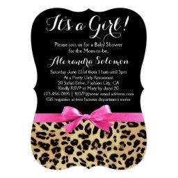 Leopard baby shower invitations babyshowerinvitations4u leopard print hot pink bow its a girl baby shower filmwisefo
