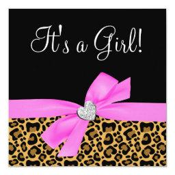 Leopard Print Pink Bow Diamond Girl Baby Shower