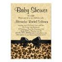 Leopard Print With Bow Girl Baby Shower Invitation