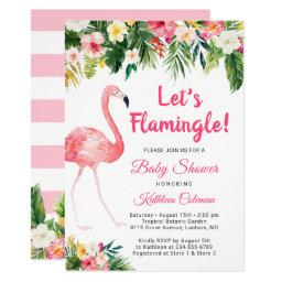 Let's Flamingle Tropical Floral Baby Shower Invitations