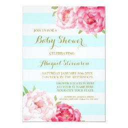 Light Blue Stripes Watercolor Flowers Baby Shower