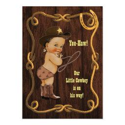 Light Ethnic Cowboy Rustic Baby Shower