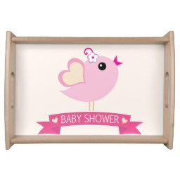 Light Pink Love Bird Baby Shower Serving Tray