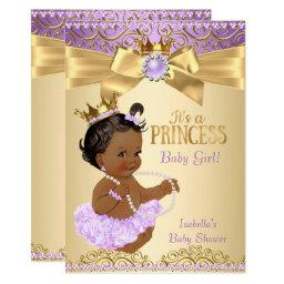 Lilac Gold Ballerina Princess Baby Shower Ethnic
