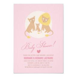 Lion Family Pink Baby Shower Invite Pink