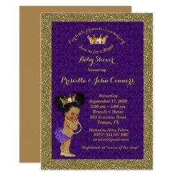 Little Afro Princess Baby Shower Invitations,purple Invitations