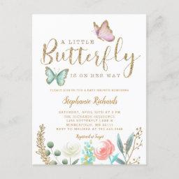 Little Butterfly Is On Her Way Gold Baby Shower Invitation Postinvitations