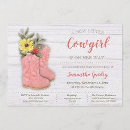 Little Cowgirl Bootie Baby Shower Invitation