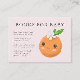 Little Cutie Theme Books For Baby Pink Baby Shower Enclosure Card