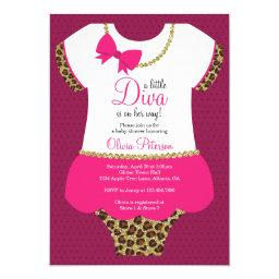 Little Diva Baby Shower Invite, Cheetah, Faux Gold Invitations
