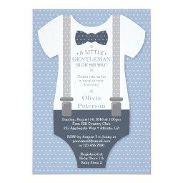 Little Gentleman Baby Shower Invite, Blue, Gray