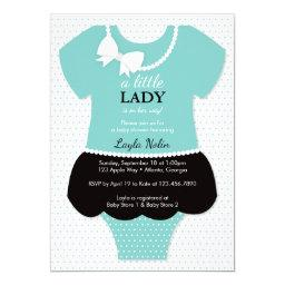 Little Lady Baby Shower Invitations, Blue, Pearls Invitations