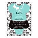 Little Lady Baby Shower Invitation, Blue, Pearls Invitation