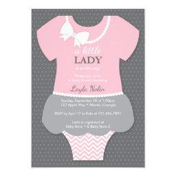 Little Lady Baby Shower Invitations, Pink, Pearls Invitations