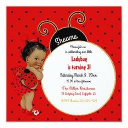 Little Ladybug African American Girl Red Black