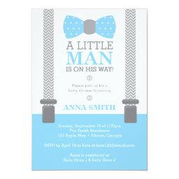 Little Man Baby Shower Invitation, Baby Blue, Gray