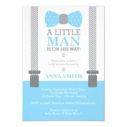 Little Man Baby Shower , Baby Blue, Gray