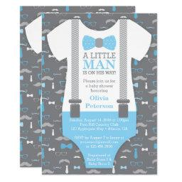 Little Man Baby Shower Invitation, Baby Blue, Gray Invitation