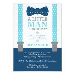 Little Man Baby Shower Invitation, Baby Blue, Navy