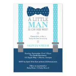Little Man Baby Shower Invitation, Baby Blue, Navy Invitation