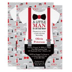 Little Man Baby Shower Invitations, Black, Red Invitations